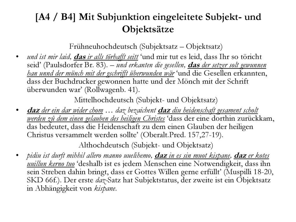 [A4 / B4] Mit Subjunktion eingeleitete Subjekt- und Objektsätze